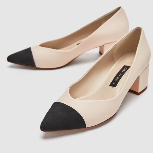 129a7ec419 Zara Suede Black and Camel Chunky Heel Pump. M_5a761ad531a37627821fa77a